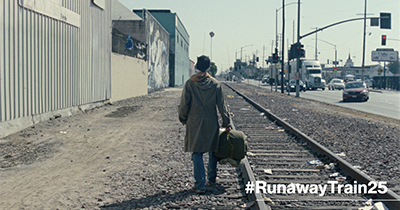 Still from the Runaway Train 25 campaign