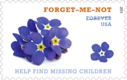 Depiction of the 2015 commemorative forget-me-not USPS stamp