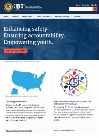 Small screenshot of the new OJJDP website homepage