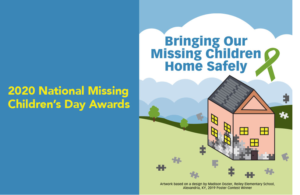 2020 National Missing Children's Day Awards. Bringing Our Missing Children Home Safely. Features an image of a house made of puzzle pieces.