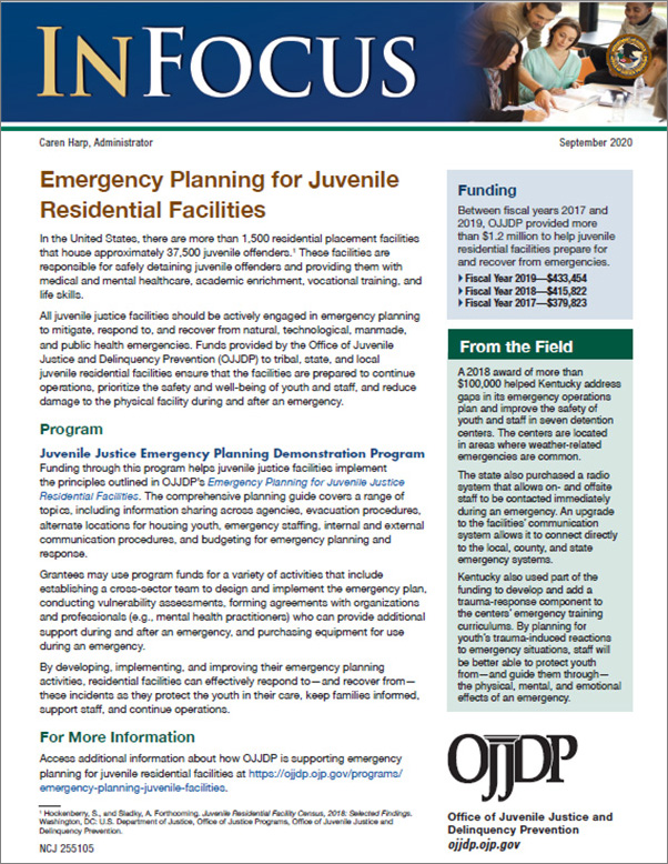 Emergency Planning for Juvenile Residential Facilities