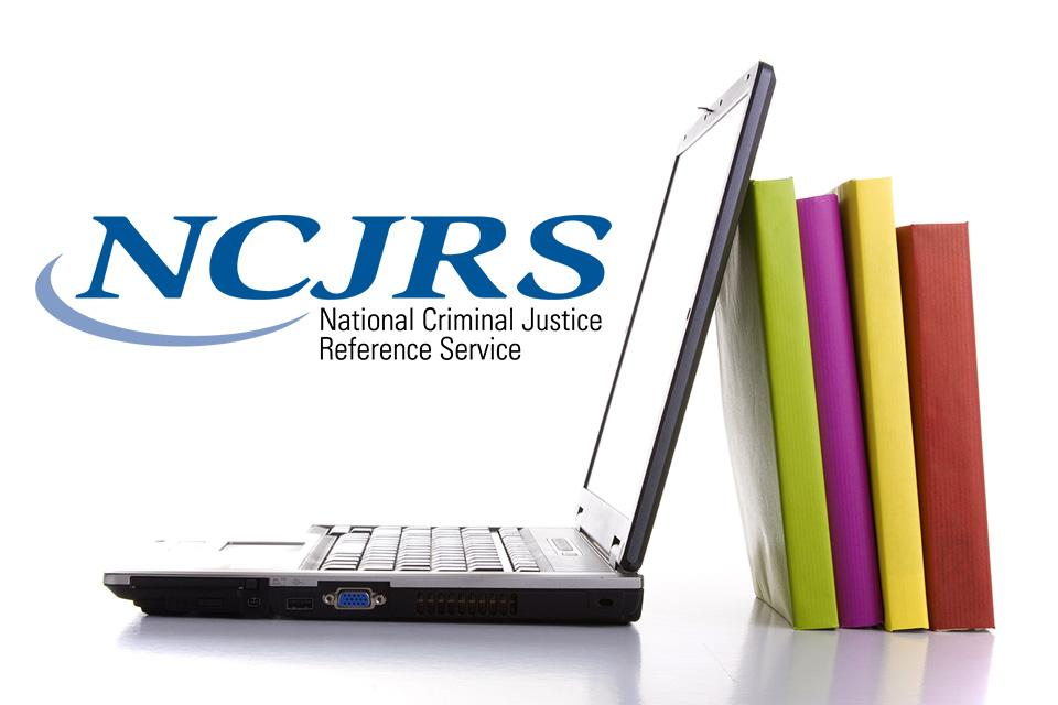 NCJRS Library image showing laptop and books