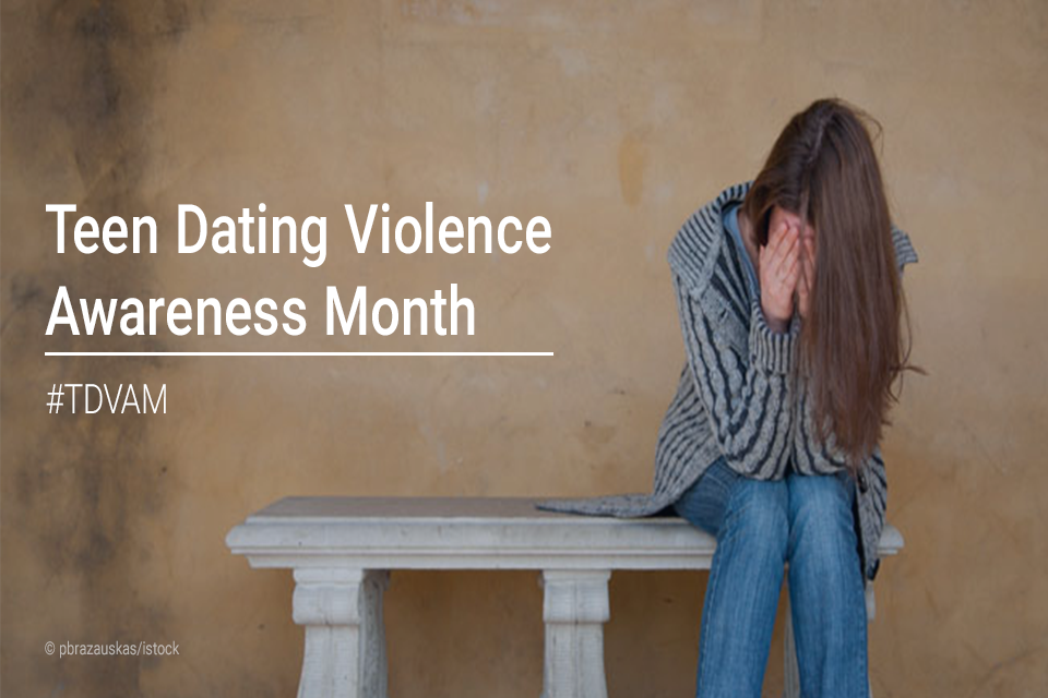 Teen Dating Violence Awareness Month #TDVAM. Picture of a girl hiding her face in her hands while sitting on a bench.