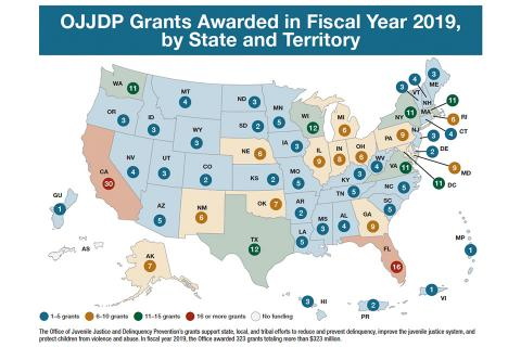 Map: OJJDP Grants Awarded in FY 19, by State and Territory