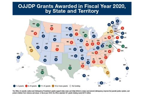 Map: OJJDP Grants Awarded in FY 2020, by State and Territory