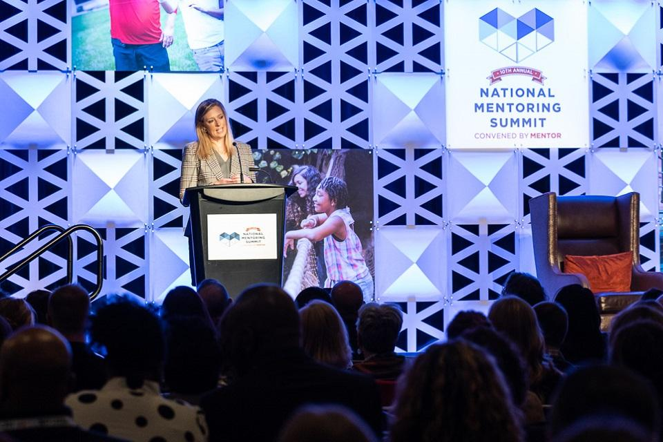 PDAAG Katie Sullivan speaking at the 2020 National Mentoring Summit.