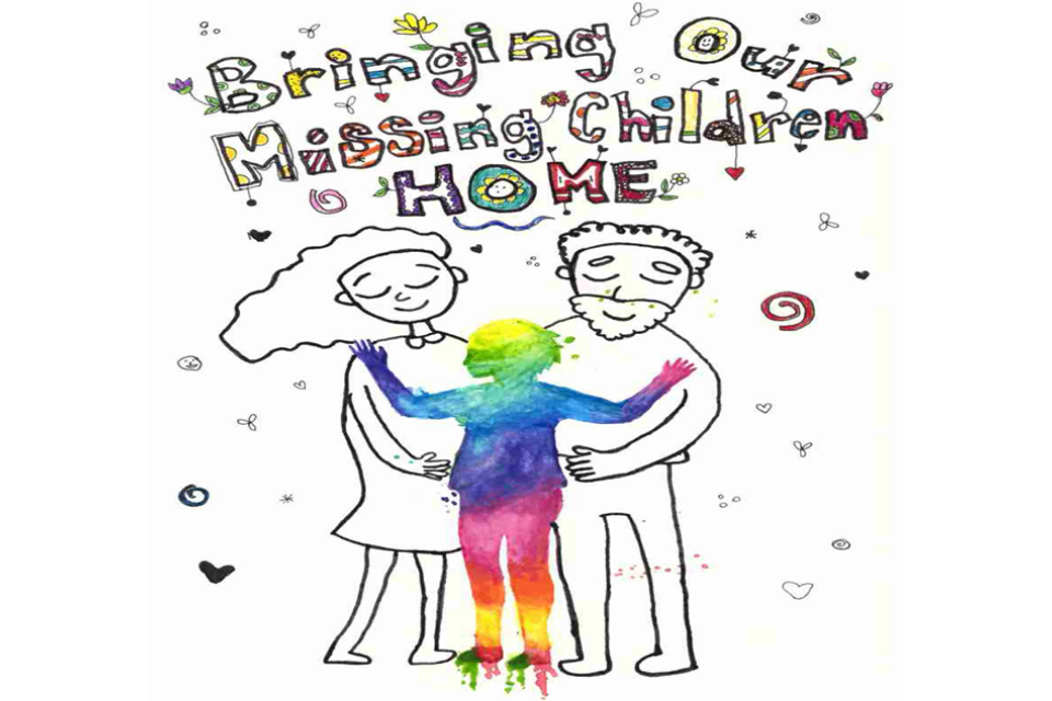 "Poster features parents hugging a child and features the phrase ""Bringing Our Missing Children Home"""