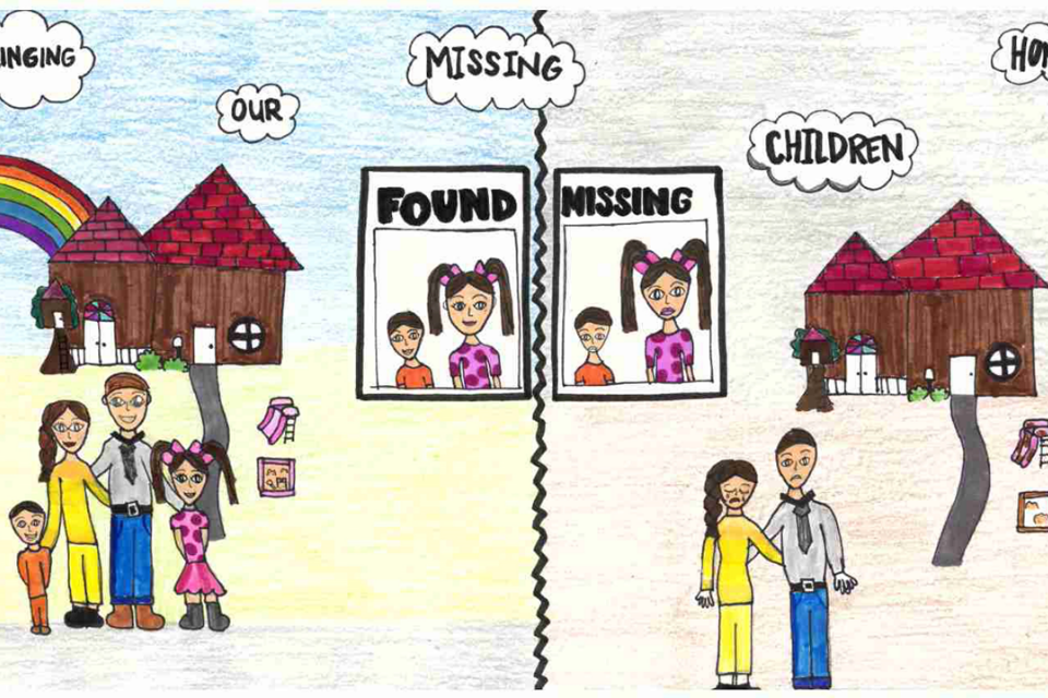 "Poster includes a family together with ""found"" and another side with parents without the kids and a sign that says ""missing."" The poster features the phrase ""Bringing Our Missing Children Home"""