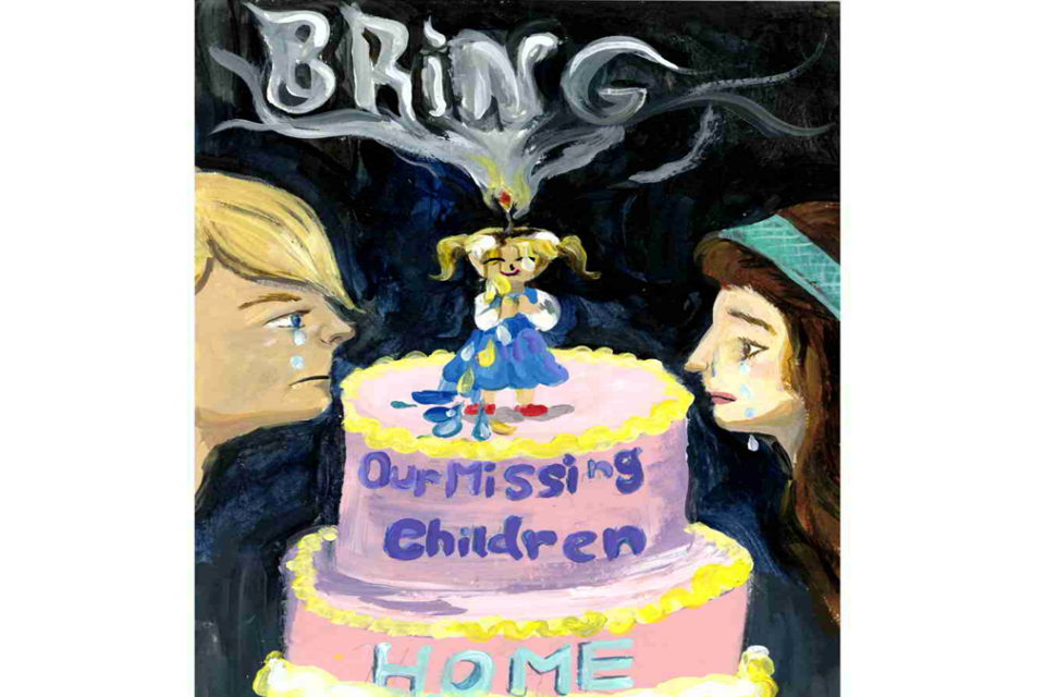 "This poster features a child as a candle which is slowly melting away with two parents looking at the candle. The poster includes the phrase ""Bring Our Missing Children Home"""