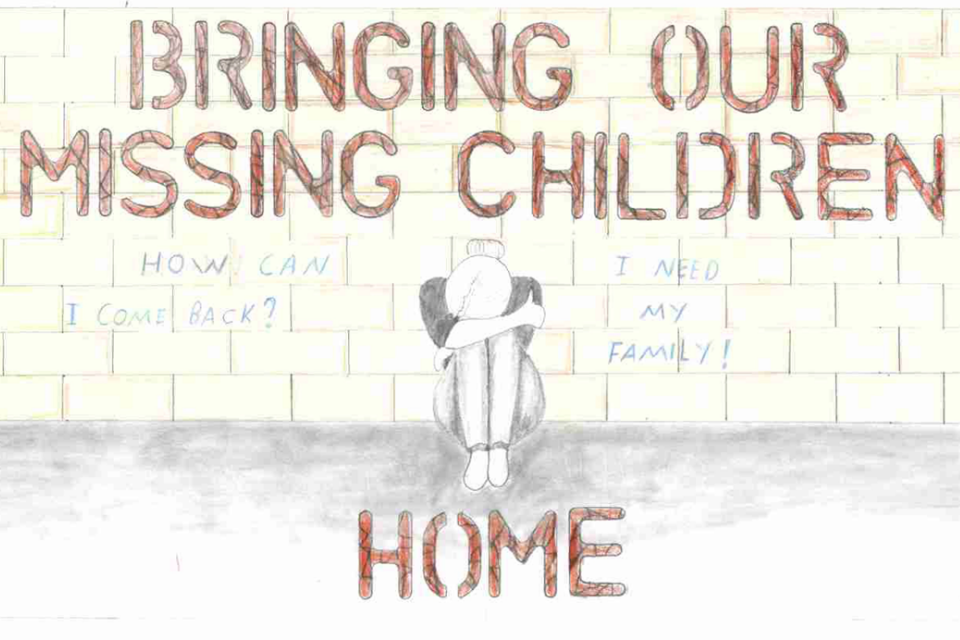 "This poster features a child sitting against a wall with her head down. It features the phrase ""Bringing Our Missing Children Home. How can I come back? I need my family!"""