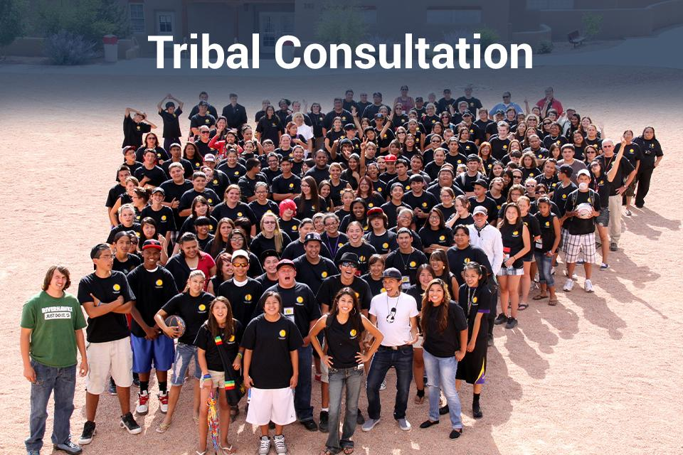 "Image of  numerous Tribal youth standing together for a photo. Includes ""Tribal Consultation"""