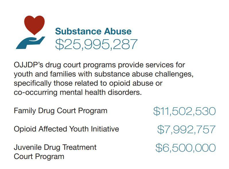 Image text Substance Abuse funding FY19: $25,995,287, Family Drug Court Program: $11,502,530; Opioid Affected Youth Initiative $7,992,757; Juvenile Drug Treatment Court Program $6,500,000