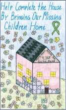 "Drawing features a house made of puzzle pieces and the phrase ""Help complete the house by bringing our missing children home"""